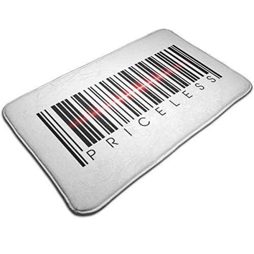 HUTTGIGH Priceless Barcode - Alfombrilla antideslizante para puerta de entrada, alfombra de baño, alfombra de cocina, alfombra de suelo de 19.5 x 31.5 pulgadas, absorbente