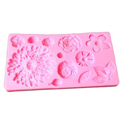 NANGUO Molde de Fondant de Flores y Hojas moldes de Silicona para Pasteles Molde 3D
