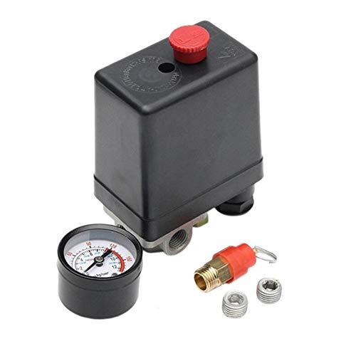LXH-SH Das elektromagnetische Ventil Luftverdichter-Pumpe Druck 90-120 Psi Schalter Regelventil 12 Bar 240V 4 Port Hot Industriebedarf (Color : Black)