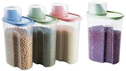 Voedselopslag Container met deksel huishoudelijke bonen granen opbergdoos granen kan transparante opbergtank verzegelde pot is de ideale keuze voor granen pasta snoep en snacks grote 25L vier pack