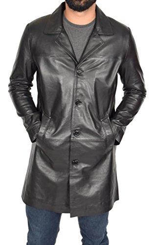 Herren 3/4 Lange schwarz Leder Mantel Crombie Style Jacke Überzieher Klassischer Trench - Jones (L - EU 50)