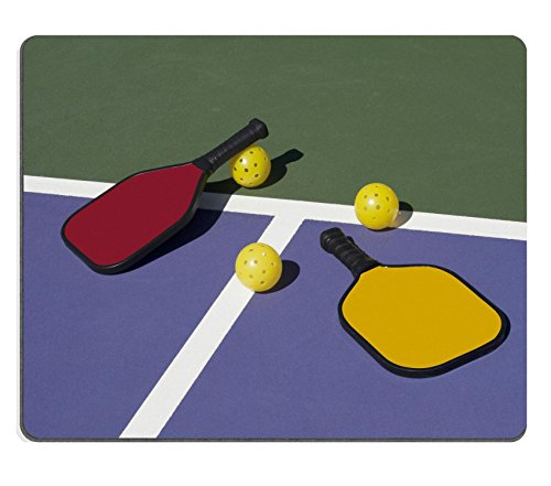 Luxlady Natural Rubber Gaming Mousepads Pickleball Colorful Paddles Ball and Court Image ID 25179426