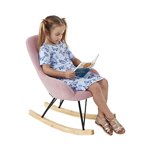 ECR4Kids Children's Modern Rocking Chair, Upholstered Accent Chair for Nursery, Playroom, Bedroom and Living Room, Small Contemporary Rocker, Kids Cushioned Arm Chair, Blush