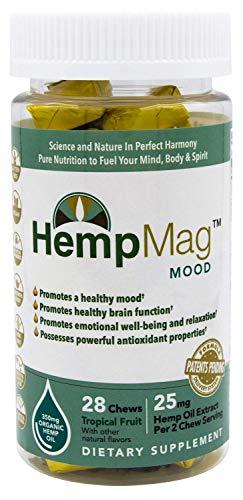 HempMag MOOD - Organic Hemp Oil Extract (350 mg / 28 ct) - Magnesium - B-vitamins, Biotin, Niacin-Bound Chromium - Full Spectrum Support