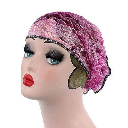 Xiang Ru Hollow-Out Chapeau Doux Turban Islamique Bonnet en Dentelle Chimio Rose