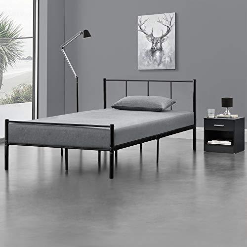 [en.casa] Metallbett 120x200 cm Schwarz auf Stahlrahmen mit Lattenrost Bettgestell mit Kopfteil Design Jugendbett Gästebett