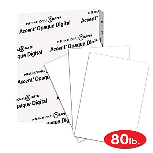 Accent Opaque Thick Cardstock Paper, White Paper, 80lb Cover, 216 gsm, Letetr Size, 8.5 x 11 Paper, 97 Bright, 1 Ream / 250 Sheets, Super Smooth, Heavy Card Stock (121947R)