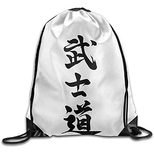 jingqi Tragetaschen Mit Kordelzug,Turnhalle Kordelzug Taschen,Draw Rope Rucksack,Gymsack,Japanische Kanji Bushido Sporttasche,Travel String Pull Bag,Sport Cinch Pack
