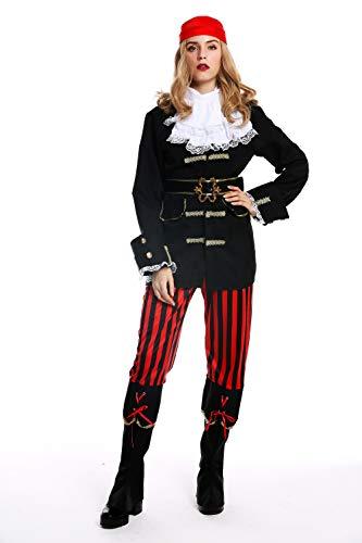 dressmeup - W-0210-S/M Disfraz Mujer Feminino andrógino Pirata flibustera bucanera Barroco Talla S/M