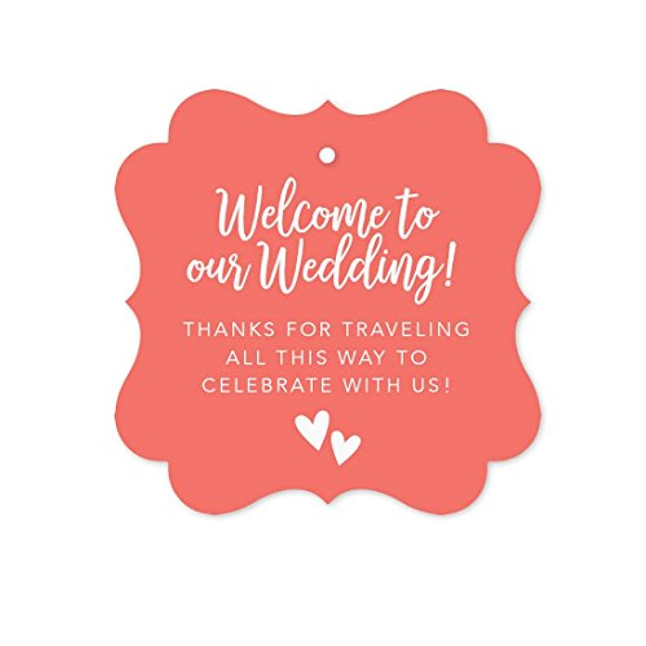 Andaz Press Out of Town Bags Fancy Frame Gift Tags, Welcome to Our Wedding Thanks for Traveling to Celebrate with Us, Coral, 24-Pack, for Destination OOT Gable Boxes