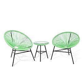 Beliani – Set 2 Fauteuils Spaghetti et Table – Acapulco – en Rotin PE et Acier, Vert et Noir