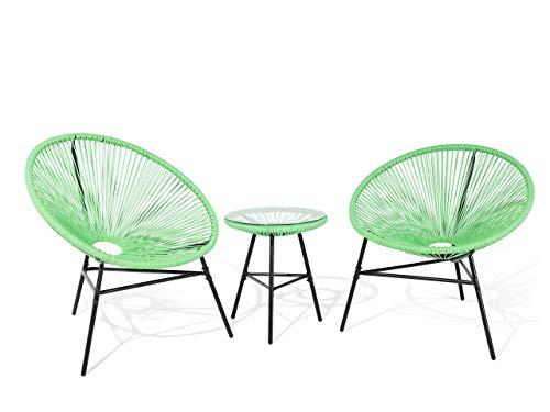 Beliani - Set 2 Fauteuils Spaghetti et Table - Acapulco - en Rotin PE et Acier, Vert et Noir