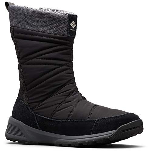 Columbia Women's Meadows Slip-ON Omni-Heat 3D Mid Calf Boot, Black, Dark Stone, 8 Regular US