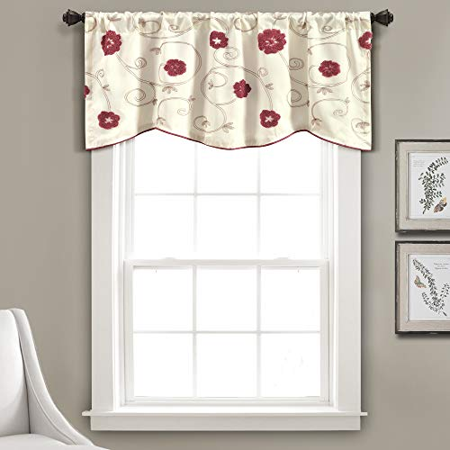 "Lush Decor Royal Embrace Valance Floral Window Kitchen Curtain (Single), 18"" x 42"", Blue, Red"