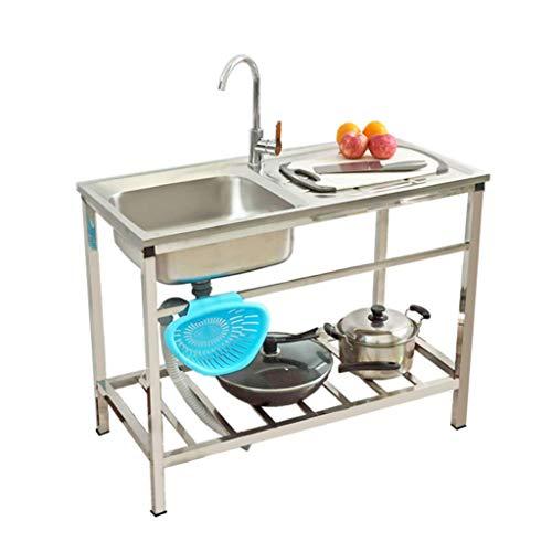 KAISIMYS Fregadero Comercial Lavabo de Cocina de Acero Inoxidable, con un Banco de Trabajo Resistente e higiénico Adecuado para garajes Interiores y Exteriores, 75 * 40 cm / 83 * 50 cm
