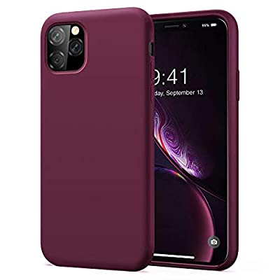 KUMEEK iPhone 11 Pro Max Case, Soft Silicone Gel Rubber Bumper Case Anti-Scratch Microfiber Lining Hard Shell Shockproof Full-Body Protective Case Cover for Apple iPhone 11 Pro Max-WineRed