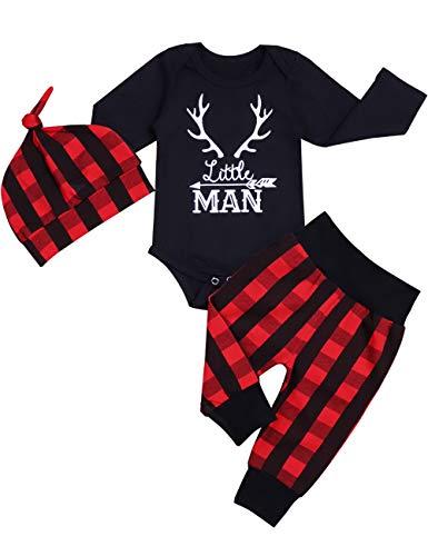 Newborn Infant Baby Boy Clothes Long Sleeve Romper,Deer Pant+ Little Man Hat 3Pcs Outfits Set (05-Black, 0-3 Months)