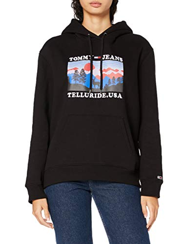 Tommy Hilfiger Damen Tjw Modern Logo Hoodie Pullover, Black, XL