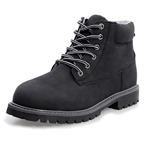 DADAWEN Boys & Girls Waterproof Outdoor Side Zipper Lace-Up Leather Winter Snow Ankle Combat Boots Black US Size 3 M Little Kid