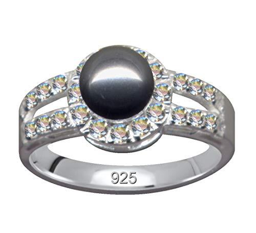 Anillo de plata de ley 925 con perla gris y circonitas, cristales de amor, creencia, esperanza, emoción, símbolo, diseño, objeto extravagante, bonito, moderno, color blanco claro