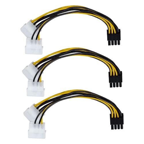 Cavo Alimentazione da Molex a PCIe, Confezione Doppio Cavo 3 Adattatori Alimentazione PCI Express da 4 Pin a 8 Pin per Scheda Grafica Video, ASUS, Gigabyte, Sapphire - 4 pollici (10,16 cm.)
