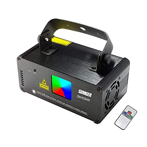 Sumger Professional DMX512 LED Indoor Stage Lights RGB Laser Scanner Beam Effect Stage Light Sound Activated Bedroom Laser Projector Lighting Show with Remote for DJ Disco Church Birthday Party Xmas