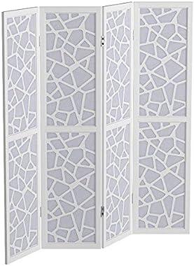 Roundhill Furniture Giyano 4 Panel Wood Frame Screen Room Divider, White