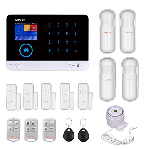 cheap KONLEN Voice LCD WiFi GSM SIM Home Theft Alert RFID Touch Wireless SMS Call Alert App…