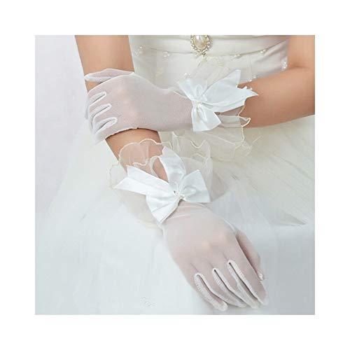 Handschuhe Braut Gaze Bogen Handschuhe Kleid Finger Spitze Brautkleid Kurze Handschuhe Frauen Braut Hochzeit Handschuhe Party Phantasie Kostüme (Color : White)