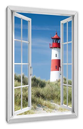 Pixxprint Leuchtturm hinter Dünen, Fenster Leinwandbild |Größe: 80x60 cm | Wandbild | Kunstdruck