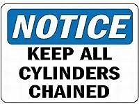注意のサイン-すべてのシリンダーをチェーンに保つように注意してください。通知のためのインチ通りの交通危険屋外の防水および防錆の金属錫の印