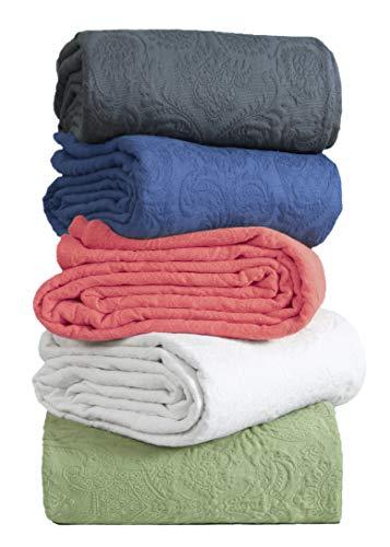 Überwurfdecke, marineblau, Doppelgröße, Boho-Überwurf, weiche Sommer-Strickdecke, 440 g/m², Jacquard-Matelasse, Damast, gesteppte Decke für Bettüberwurf, Tagesdecke, Sofa/Couch