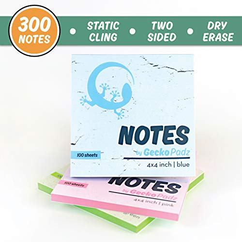 Sticky Notes 4x4 inch | GeckoPadz Static Cling to Any Surface with No Adhesive | Reusable White Dry Erase Side | Great for Classroom Supplies and at Home Office | 3 Pack, 300 Sheets