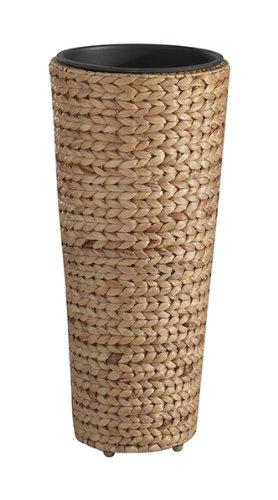 GARTENFREUDE Pflanzkübel Pflanzgefäße Blumenkübel Blumentopf für Blumen etc. mit Wasserhyazinthe 28 x 60 cm, inkl. wasserdichtem Kunststoffeinsatz, naturfarben