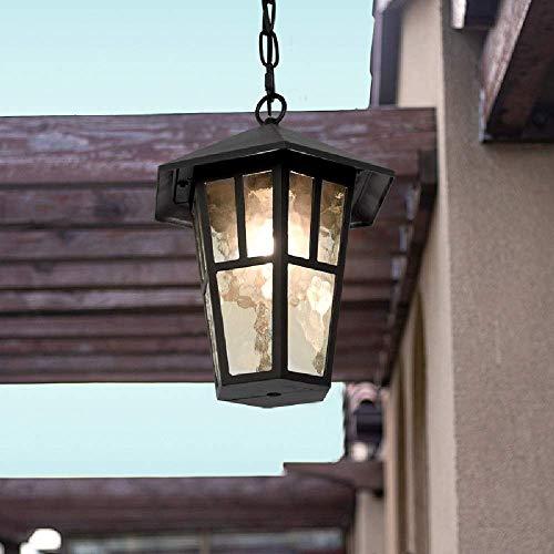 Lámpara colgante vintage para exteriores, retro, metal negro, resistente al agua, para colgar en el techo, lámpara cristal E27, iluminación araña exterior para jardín, patio, pabellón, marco uvas, pas