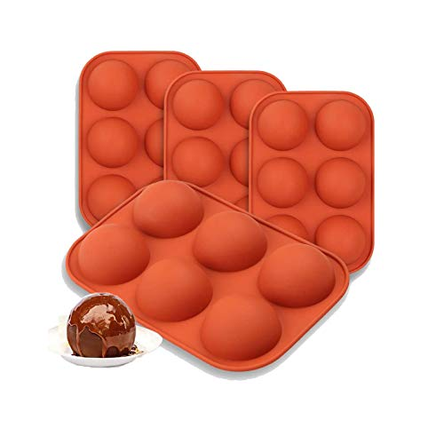 Semi Sphere Silicone Mold, DIY Nonstick Baking Mold for Making Candy, Hot Chocolate Bomb, Cake, Jelly, Dome Mousse (4 Pack)
