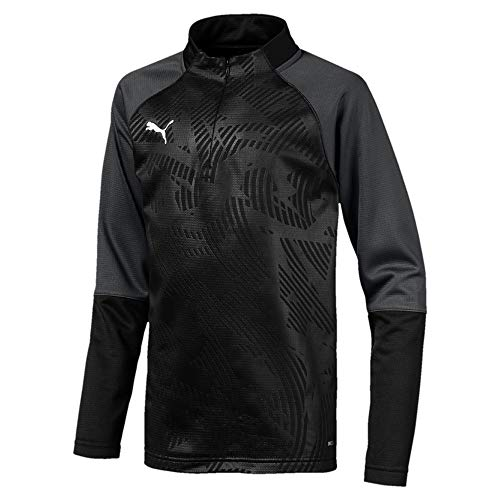 Puma Kinder Cup Training 1/4 Zip T Core Trainingsoberteil, Black-Asphalt, 164