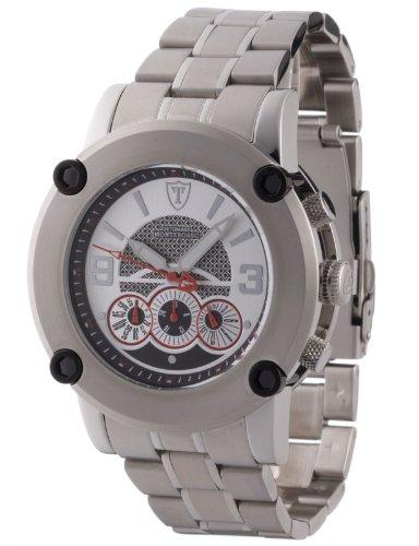 DeTomaso DT1001C - Reloj cronógrafo de caballero de cuarzo con correa de acero inoxidable plateada (cronómetro) - sumergible a 50 metros
