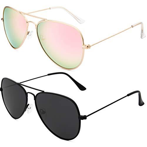 Livhò Sunglasses for Men Women Aviator Polarized Metal Mirror UV 400 Lens Protection (Black Grey+Pink)
