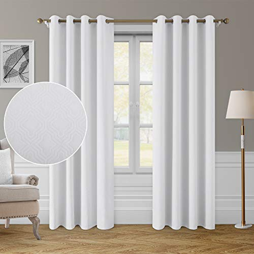 HOMEIDEAS Greyish White Blackout Curtains 52 x 84 Inch Geometric Moroccan Lattice Embossed Geo Trellis Curtain Room Darkening Bedroom Curtain Thermal Insulated Grommet Drapes for Living Room, 2 Panels