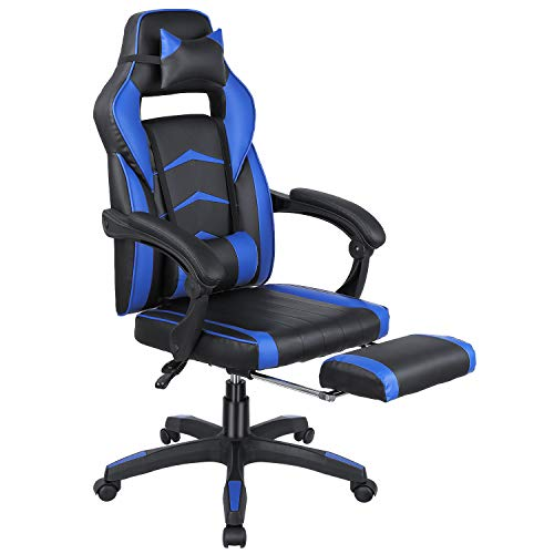 Femor Gaming Chair, Office Chair, Racing Chair, Ergonomic Design with Headrest and Lumbar Support, Adjustable Height Chair (Blue) blue chair gaming
