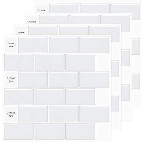 MORCART Fliesenaufkleber Selbstklebende Fliesendekor Aufkleber Backstein Mosaik Wallpaper 3D Aufkleber Küchenschränke Badezimmer Kamin Bodentreppe Abnehmbar Wasserdicht für Küche und Bad 5 Stück