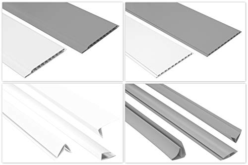 HEXIM Paneele & Zubehör aus PVC - Wandverkleidung mit Stecksystem, Kunststoff, hart, wasserfest - (PPE-01 weiß Endprofil - 28x10mm) Steckpaneele Kunststoffpaneele