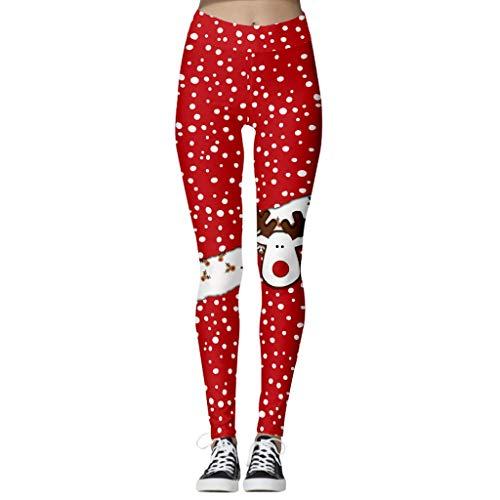 Mallas Pantalones Deportivos Leggings Mujer Elásticos y Transpirables Pantalones de Yoga Cintura Alta para Mujer Pantalón Deportivo de Navidad Estampado Running Atletico Leggings Push Up Mujer Yoga