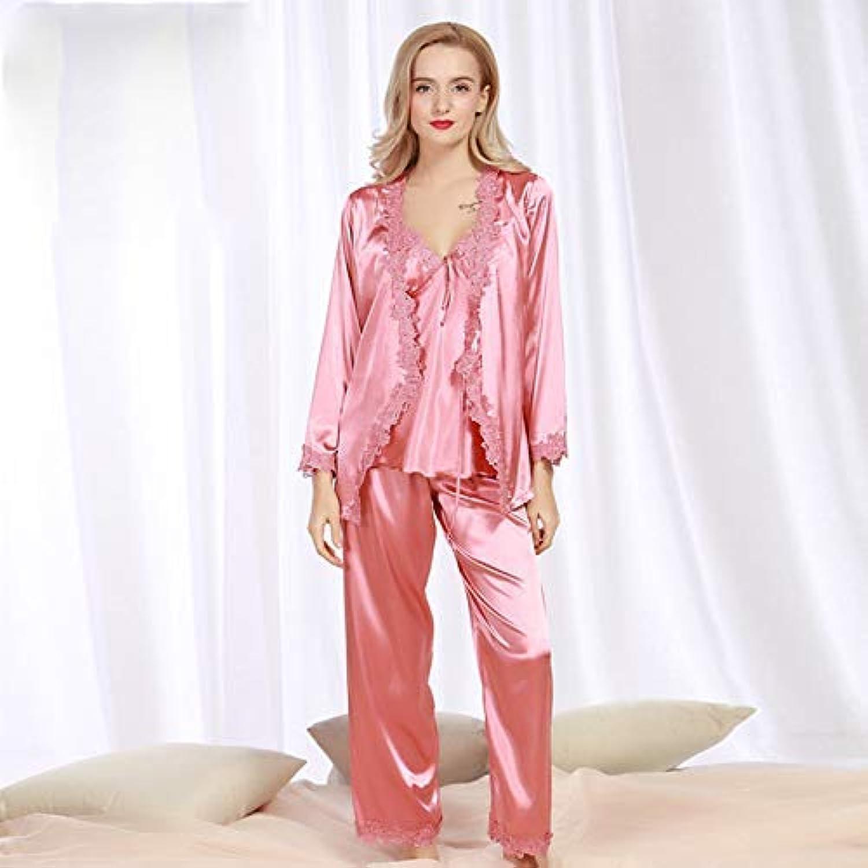 Cute Pajamas Autumn Yukata NinePoint Sleeve Pajamas Ladies ThreePiece Silk lace Sexy Pajamas Home Service (color   Coral, Size   XXL) Sexy Sleepwear (color   Coral, Size   Medium)