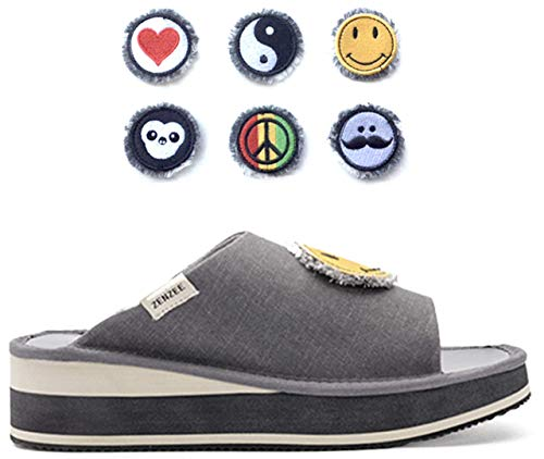 Zenzee Comfy Denim Platform Slide - Comes with Set of Patches - Fun Knit Fashion-Perfect for Indoor/Outdoor Wear, XS