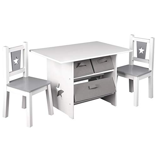 WOLTU SG011 Kindersitzgruppe, 1 Kindertisch und 2 Stühle, Kindertisch mit Stauraum, Kindermöbel Set aus Holz, mit 3 Aufbewahrungskörben, Sitzgruppe für Kinder,(Grau+Weiß)