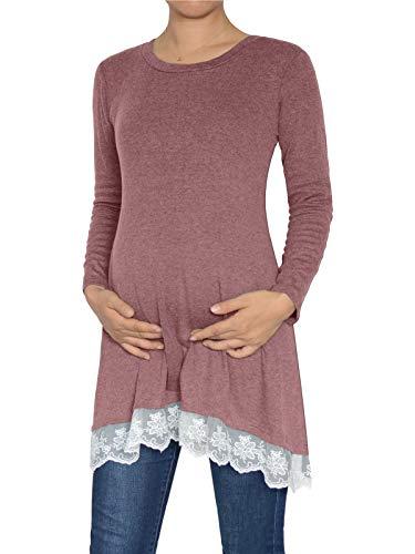Damen Langarm Spitze Saum Umstandstunika Top Bluse -  Pink -  Mittel