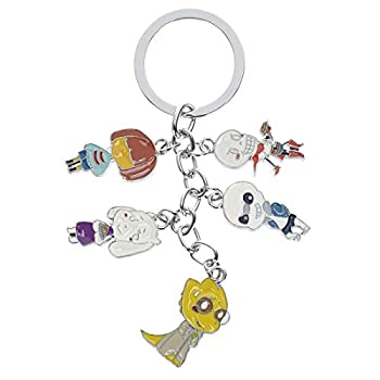 Anime Cosplay Keyring with 5 Chibi Figures Cute for Adults