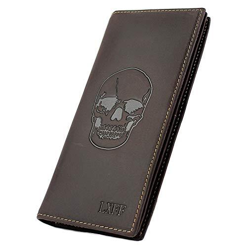 LXFF Mens Vintage Skull Genuine Leather Long wallet Bifold Wallets for Men